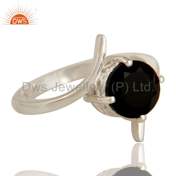 Exporter 925 Sterling Silver Natural Black Onyx Solitaire Engagement Ring