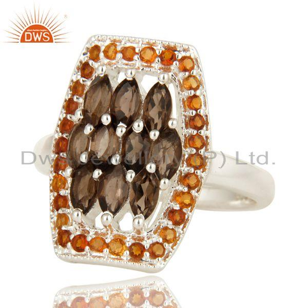 Exporter 925 Sterling Silver Smoky Quartz And Citrine Gemstone Cluster Statement Ring