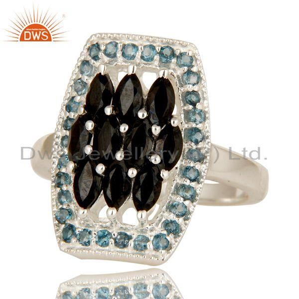 Exporter 925 Sterling Silver London Blue Topaz And Black Onyx Cluster Statement Ring