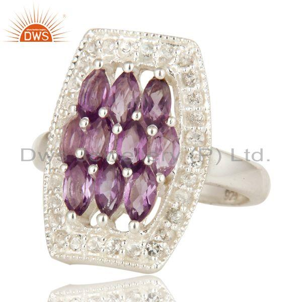 Exporter Natural Amethyst And White Topaz Sterling Silver Cocktail Ring