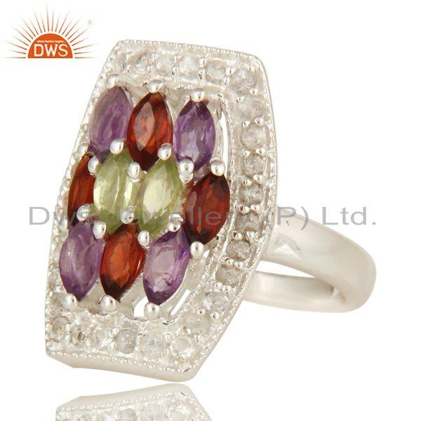 Exporter Amethyst, Garnet And Peridot Sterling Silver Ring With White Topaz