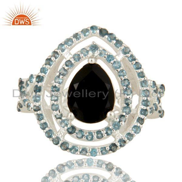 Exporter 925 Sterling Silver Black Onyx And Blue Topaz Cluster Infinity Ring