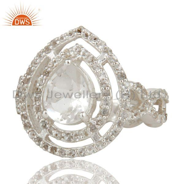Exporter 925 Sterling Silver Crystal Quartz And White Topaz Infinity Design Ring