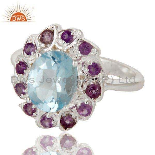 Exporter Natural Purple Amethyst And Blue Topaz Sterling Silver Cocktail Ring