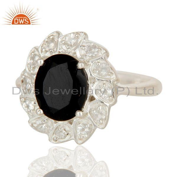Exporter 925 Sterling Silver Black Onyx And White Topaz Designer Statement Ring