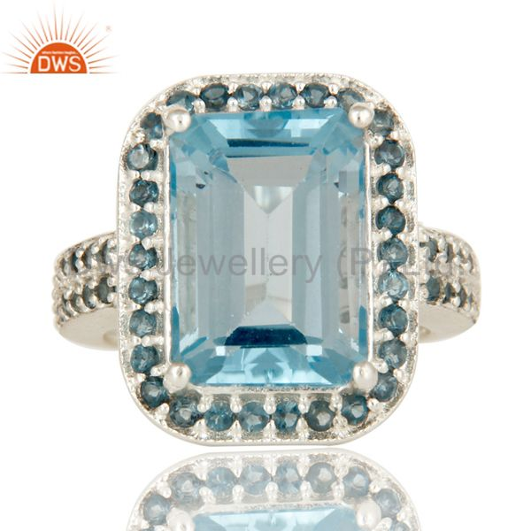 Exporter 925 Sterling Silver Natural Blue Marquise Cut Gemstone Prong Set Statement Ring