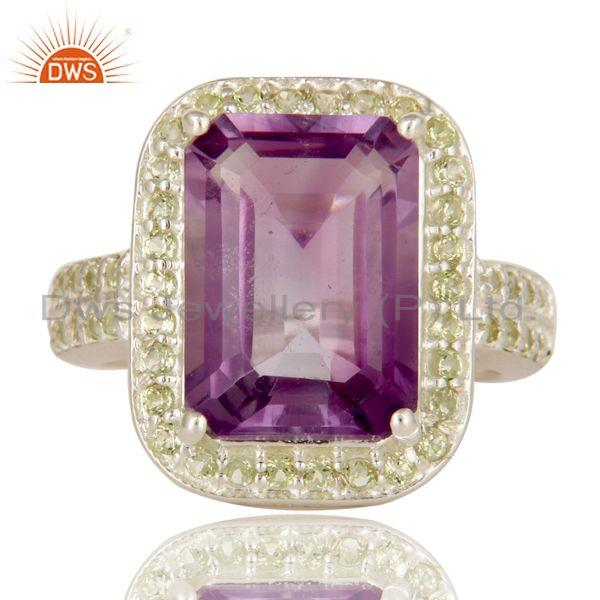 Exporter 925 Sterling Silver Amethyst And Peridot Gemstone Statement Halo Ring