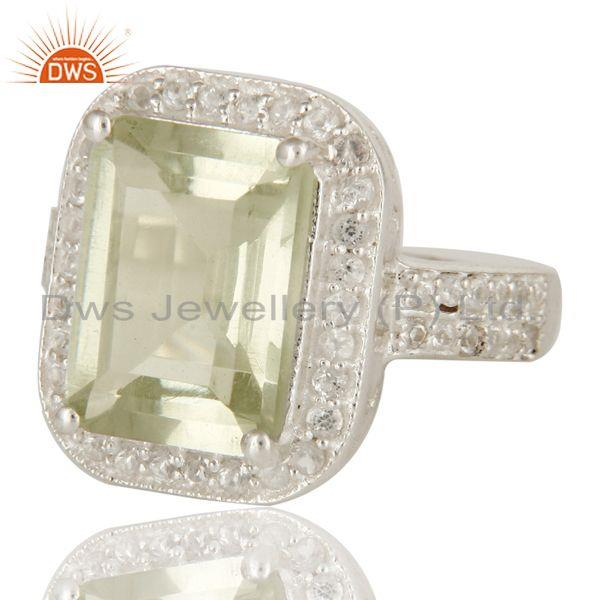 Exporter Genuine Green Amethyst And White Topaz Sterling Silver Prong Set Cocktail Ring