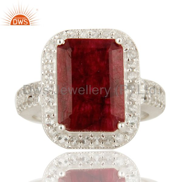 Exporter Prong Set Dyed Ruby Red Corundum And White Topaz Sterling Silver Cocktail Ring