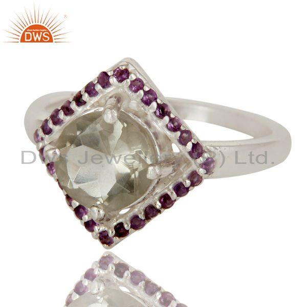Exporter Natural Green Amethyst And Purple Amethyst Sterling Silver Designer Cluster Ring
