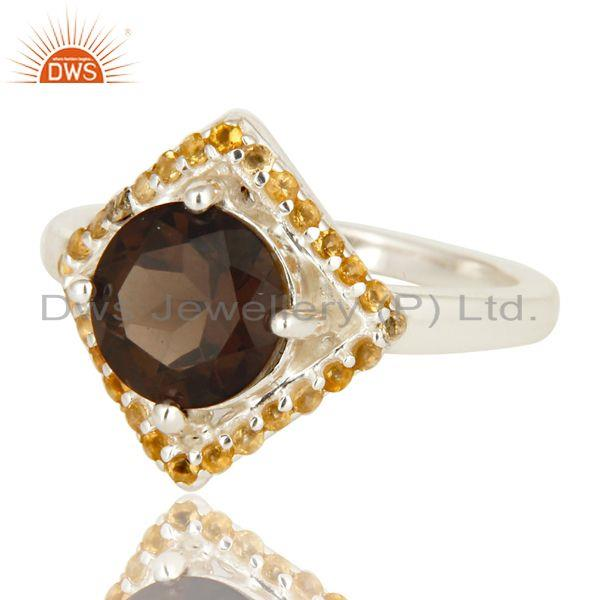 Exporter 925 Sterling Silver Smoky Quartz And Citrine Gemstone Cocktail Ring