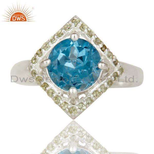 Exporter 925 Sterling Silver Blue Topaz And Peridot Gemstone Designer Cocktail Ring