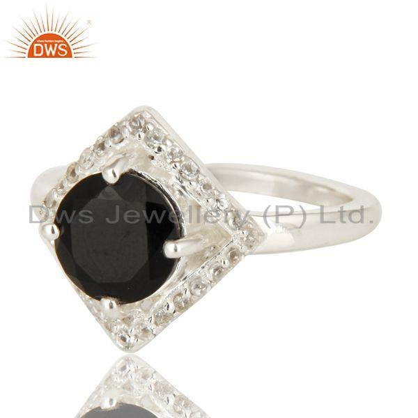 Exporter 925 Sterling Silver Natural Black Onyx And White Topaz Cluster Ring