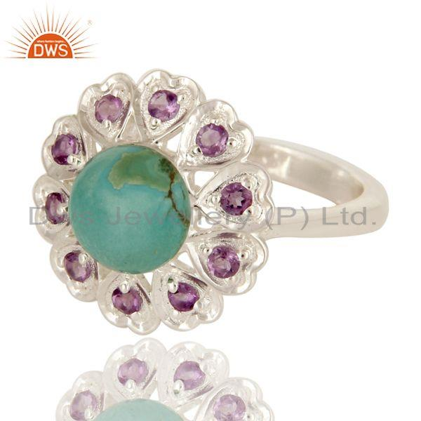 Exporter 925 Sterling Silver Amethyst And Turquoise Gemstone Designer Cocktail Ring