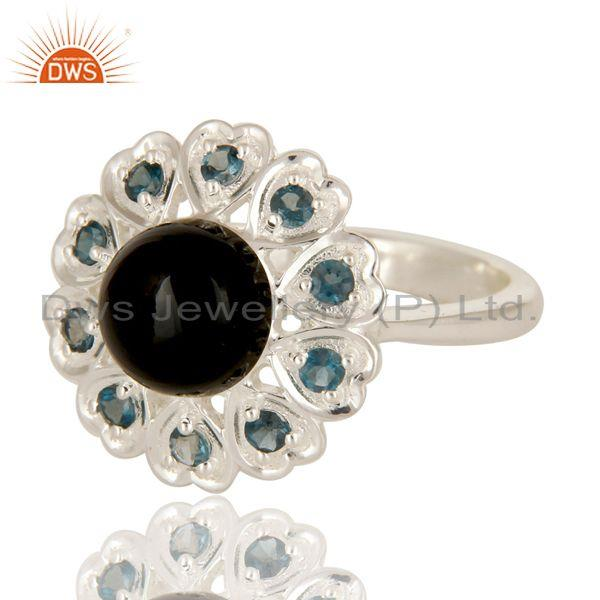 Exporter 925 Sterling Silver Black Onyx And Blue Topaz Gemstone Cocktail Ring
