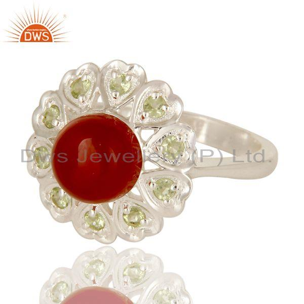 Exporter Natural Peridot And Red Onyx Gemstone Cocktail Ring Made In Sterling Silver