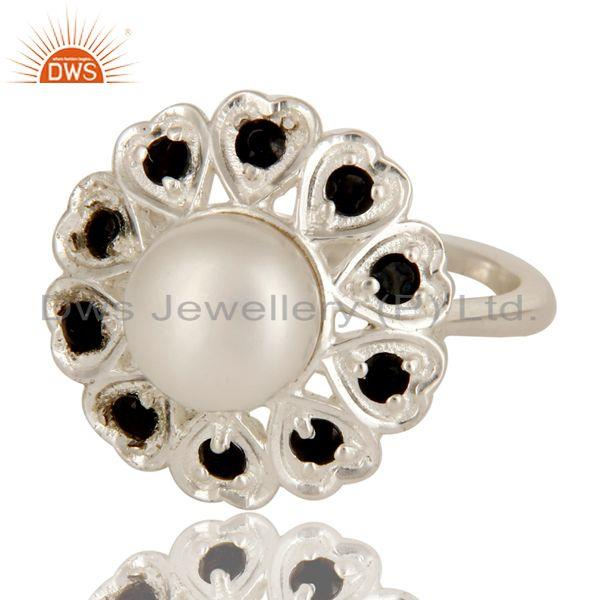 Exporter 925 Sterling Silver Natural White Pearl And Black Spinel Flower Cocktail Ring