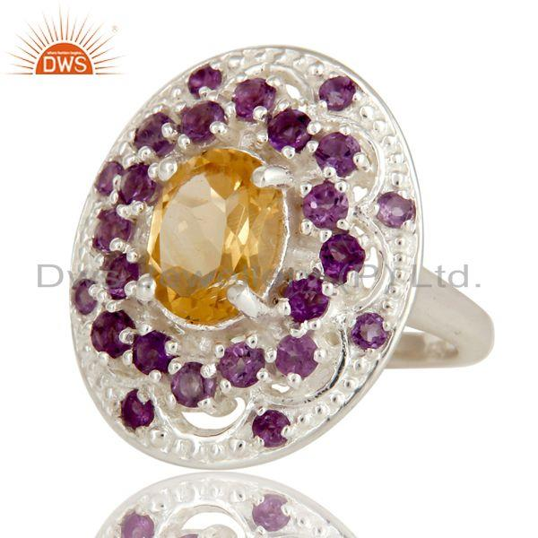 Exporter 925 Sterling Silver Amethyst and Citrine Gemstone Cluster Statement Ring