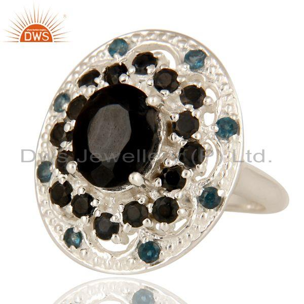 Exporter 925 Sterling Silver Black Onyx And Blue Topaz Gemstone Cluster Statement Ring