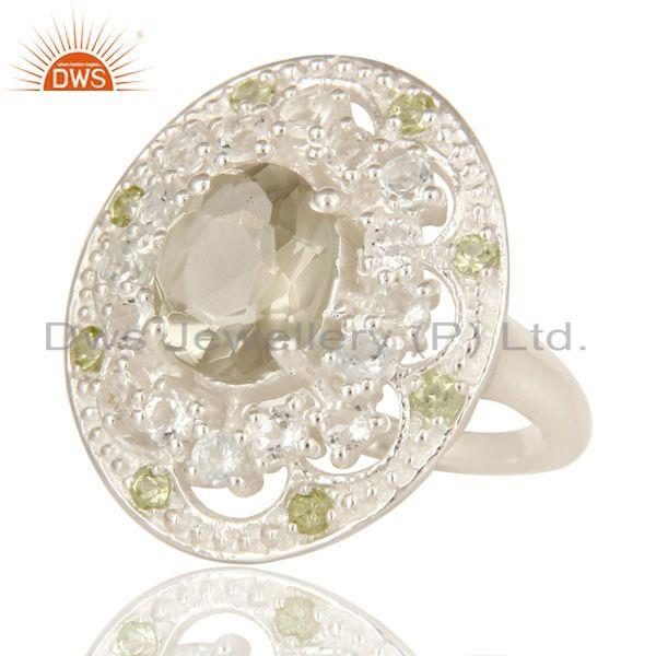Exporter 925 Sterling Silver Green Amethyst, Peridot And White Topaz Ring