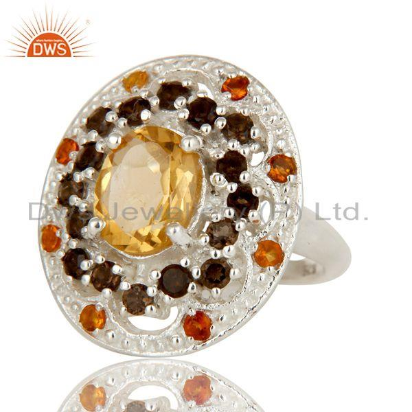 Exporter 925 Sterling Silver Smokey Quartz and Citrine Gemstone Cluster Statement Ring