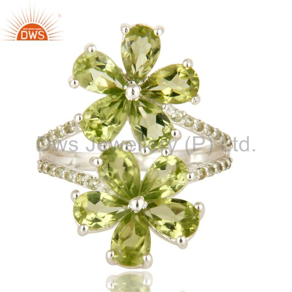 Exporter 925 Sterling Silver Peridot And White Topaz Flower Cocktail Ring