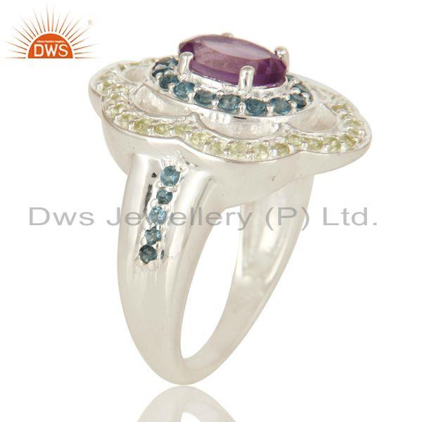 Exporter Amethyst, Blue Topaz And Peridot Sterling Silver Halo Gemstone Cocktail Ring
