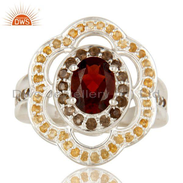Exporter Garnet, Smoky Quartz And Citrine Sterling Silver Halo Solitaire Ring