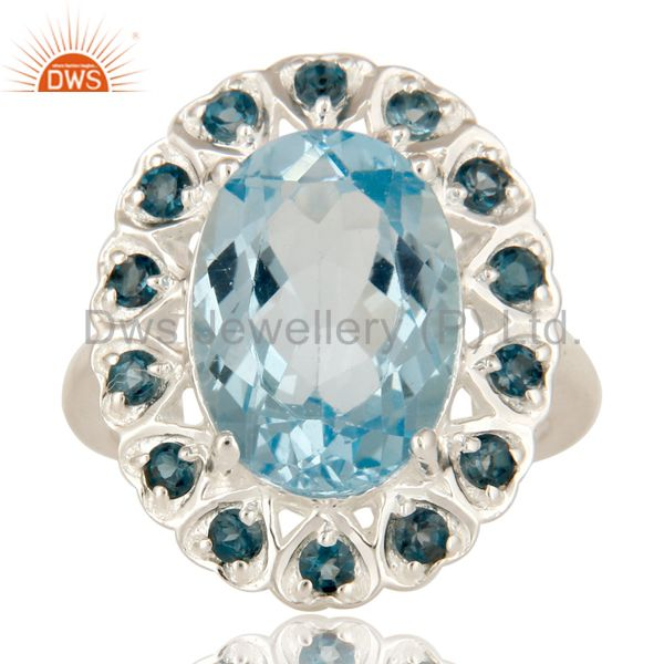 Exporter 925 Sterling Silver Blue Topaz Gemstone Prong Set Statement Ring