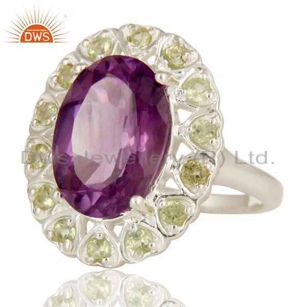 Exporter 925 Sterling Silver Amethyst And Peridot Gemstone Halo Solitaire Ring