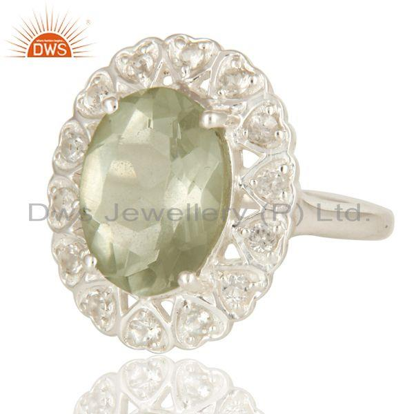 Exporter Natural Green Amethyst Sterling Silver Gemstone Halo Ring With White Topaz