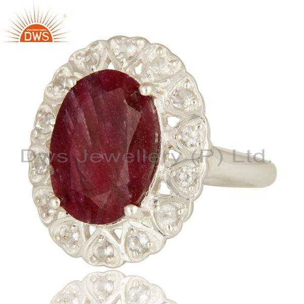 Exporter Dyed Ruby Corundum And White Topaz Sterling Silver Gemstone Cocktail Ring