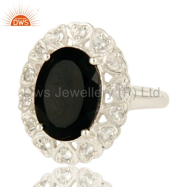 Exporter Natural Black Onyx And White Topaz Sterling Silver Gemstone Statement Ring