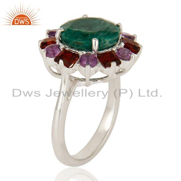 Exporter 925 Sterling Silver Green Corundum Amethyst And Garnet Gemstone Cocktail Ring