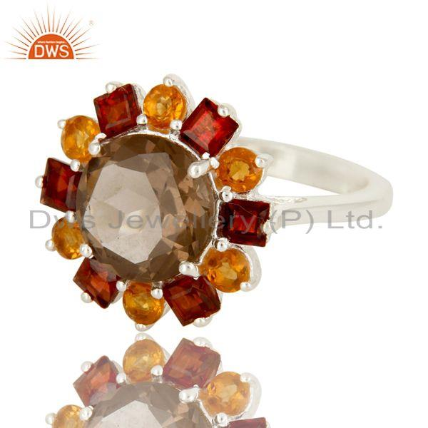 Exporter Citrine, Garnet And Smoky Quartz Cocktail Ring Made In Sterling Silver