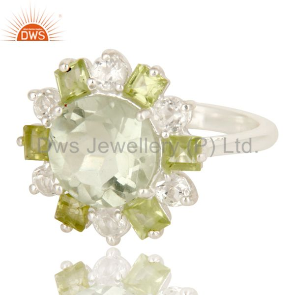 Exporter Green Amethyst Peridot And White Topaz Sterling Silver Cluster Cocktail Ring