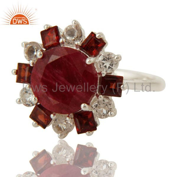 Exporter 925 Sterling Silver Garnet And Red Corundum Cocktail Ring With White Topaz