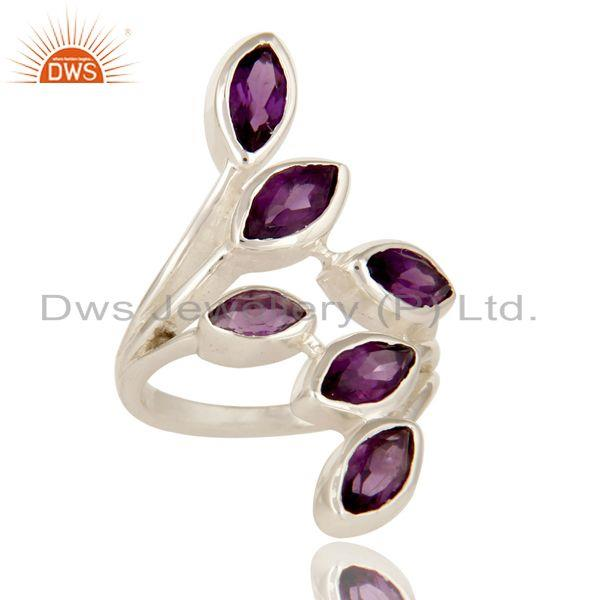Exporter 925 Sterling Silver Purple Amethyst Gemstone Marquise Cut Statement Ring