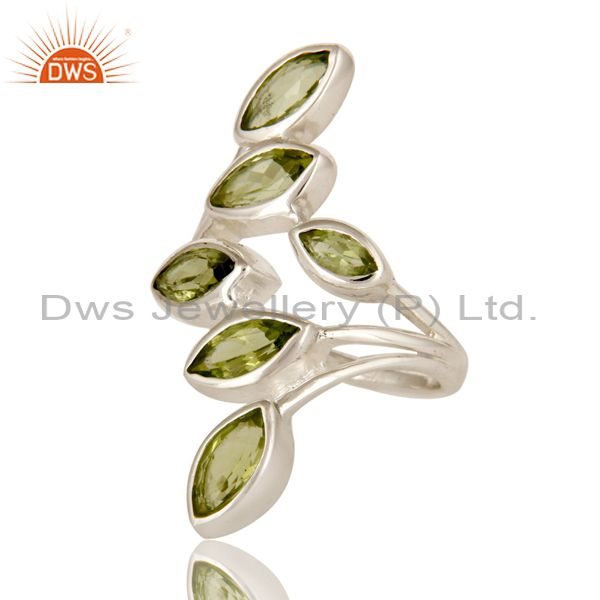 Exporter Natural Peridot Gemstone Statement Ring Made In Sterling Silver