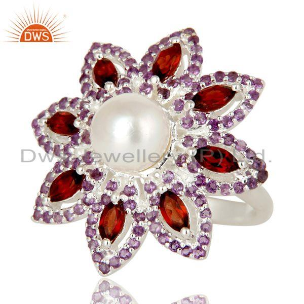 Exporter Pearl, Amethyst and Garnet Sterling Silver Flower Design Cocktail Ring