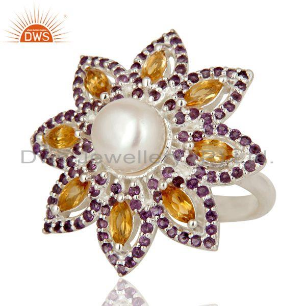 Exporter Pearl, Amethyst and Citrine Sterling Silver Flower Design Cocktail Ring