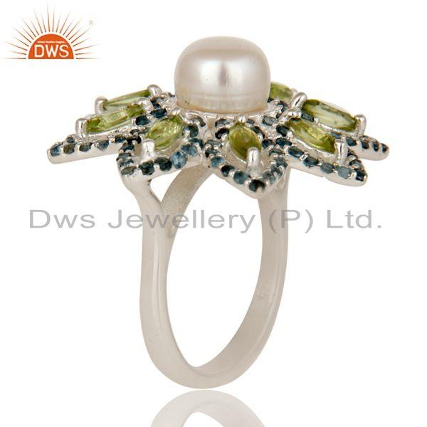 Exporter Pearl, Peridot and Blue Topaz Sterling Silver Flower Design Cocktail Ring