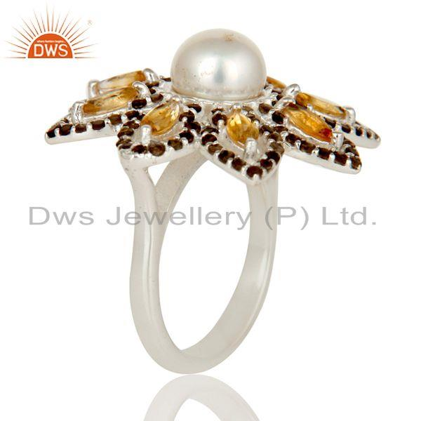 Exporter Sterling Silver Pearl Citrine and Smokey Quartz Flower Design Cocktail Ring