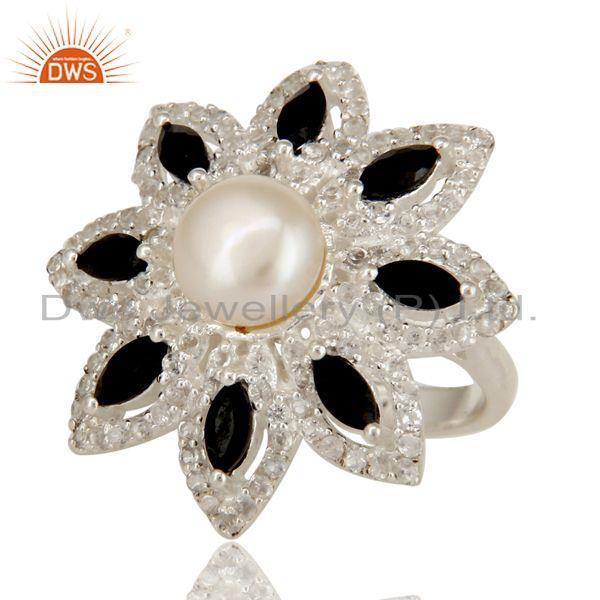 Exporter Pearl, Black Onyx And White Topaz Sterling Silver Flower Design Cocktail Ring