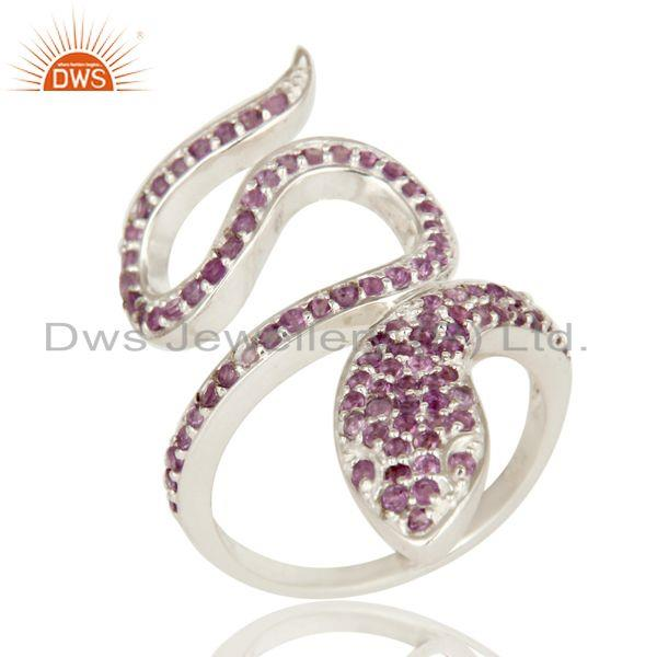 Exporter 925 Sterling Silver Natural Amethyst Gemstone Pave Set Snake Statement Ring