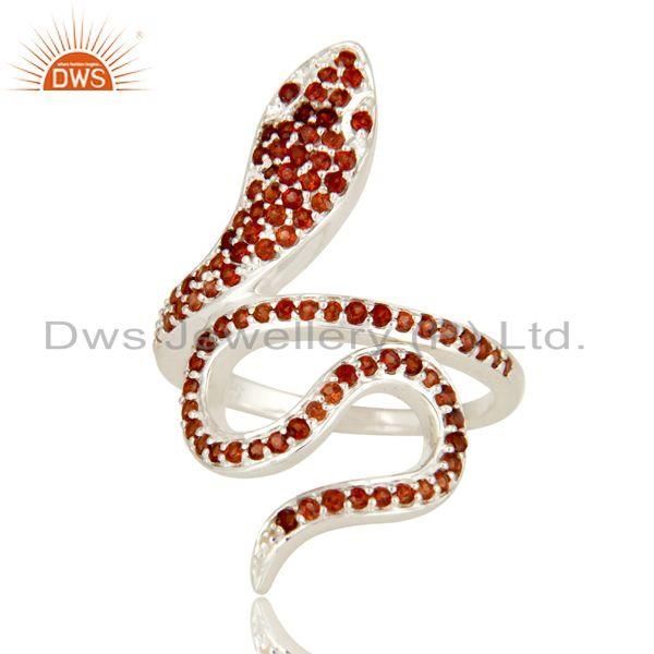 Exporter 925 Sterling Silver Snake Ring Studded with Natural Garnet Gemstone