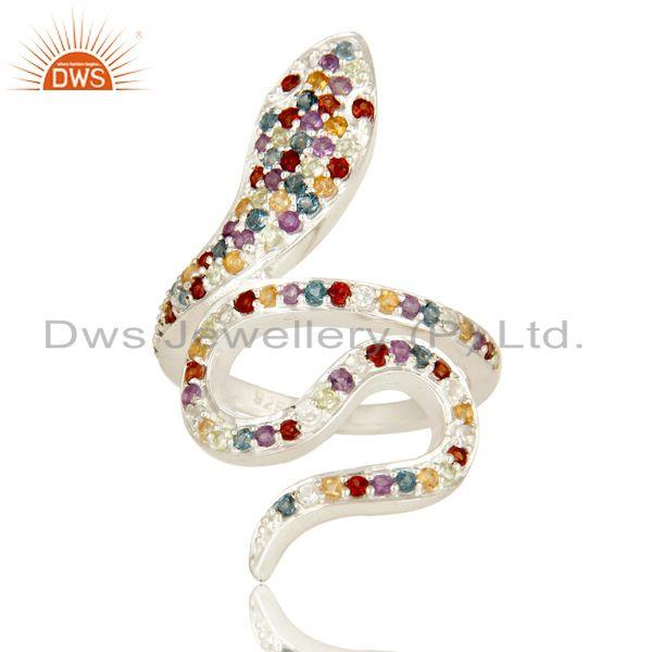 Exporter 925 Sterling Silver Snake Ring Studded with Natural Multi Gemstone