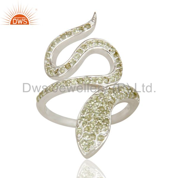 Exporter 925 Sterling Silver Peridot Gemstone Handmade Snake Design Knuckle Ring