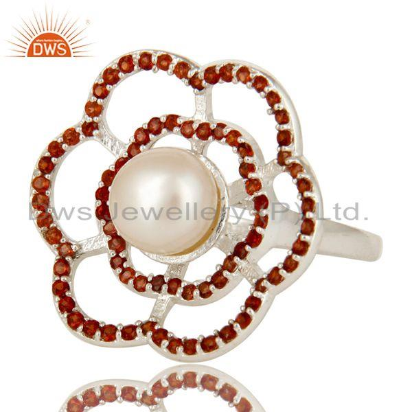 Exporter 925 Sterling Silver Natural White Pearl And Garnet Gemstone Flower Cocktail Ring
