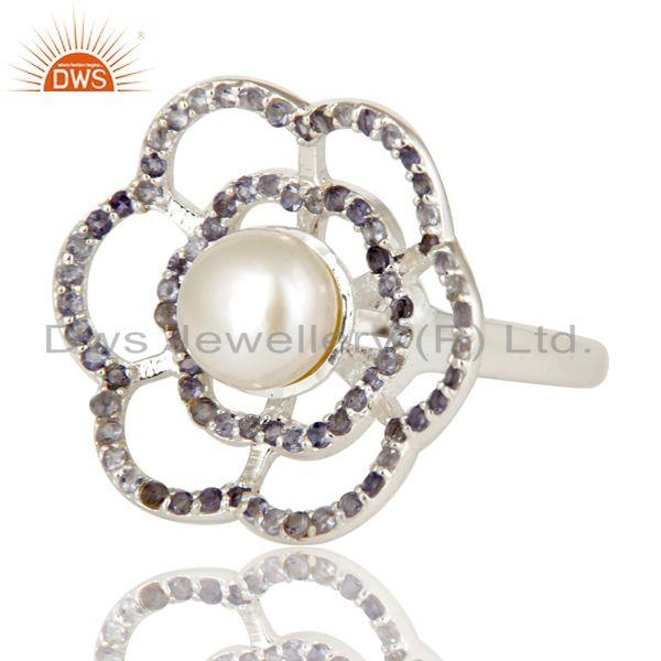 Exporter 925 Sterling Silver Natural White Pearl And Iolite Gemstone Flower Cocktail Ring